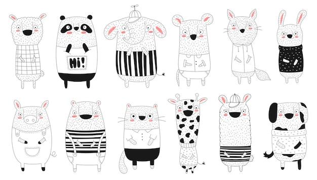 낙서 재미 있는 동물의 벡터 컬렉션