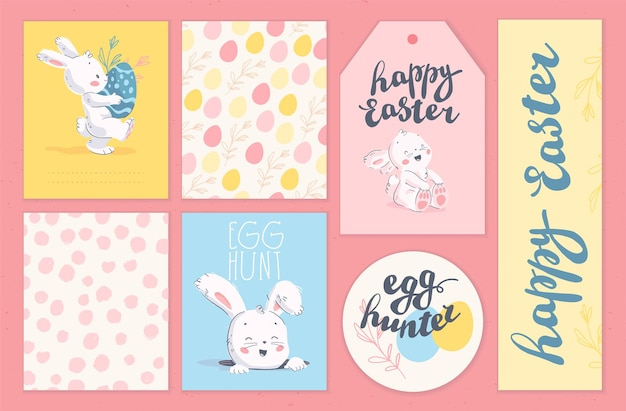 부활절 휴가 축하 카드, 태그, 글자가 있는 스티커, 부활절 달걀이 분리된 귀여운 토끼 캐릭터의 벡터 컬렉션입니다. 플랫 손으로 그린 스타일. 명절 선물, 장식, 배너용