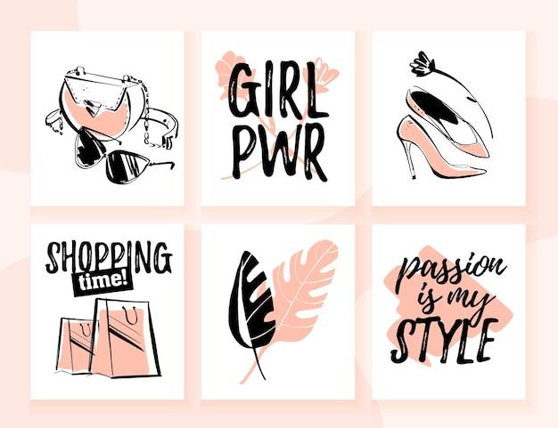 トレンディな伝統的な要素、アクセサリー、美しい女の子のモデル、テキストの引用符でショッピングや個人的なスタイルのテーマのファッションカードのベクトルコレクション。バナー、印刷物、広告、ウェブ、値札に適しています。
