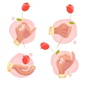 孤立した花を保持するフラットな手のシンボルのベクトルコレクション
