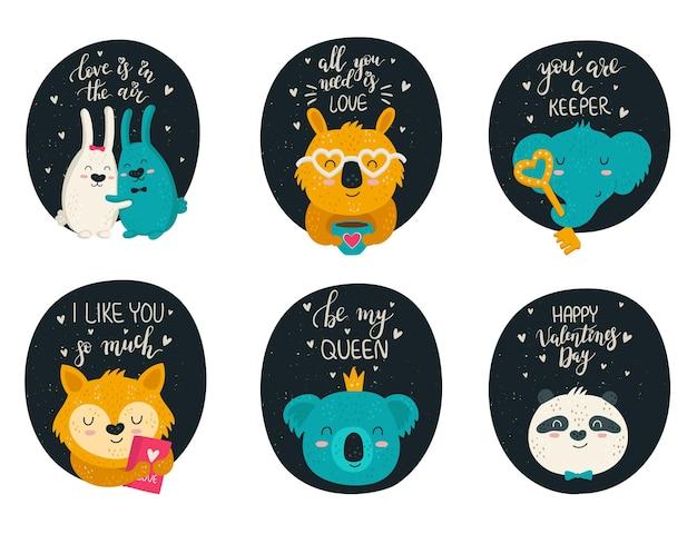 손으로 그리는 귀여운 동물과 사랑스러운 슬로건의 벡터 컬렉션 낙서 삽화 세트