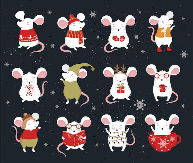 재미있는 마우스가 있는 아늑한 옷 크리에이 티브 배너에 귀여운 겨울 쥐를 그리는 손의 벡터 컬렉션