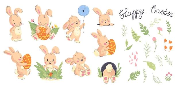 手描きのかわいいウサギのキャラクターのポーズ、ハッピーイースターおめでとうと白い背景で隔離の花の装飾的な要素のベクトルコレクション。ホリデーカード、バナー、タグなどに適しています。