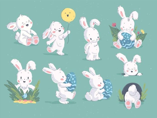 Векторная коллекция рисованной милый маленький кролик персонаж с воздушным шаром, дырой, пасхальным яйцом, цветочным декоративным элементом на зеленом фоне. для поздравления с пасхой, праздничная открытка, бирка, печать.