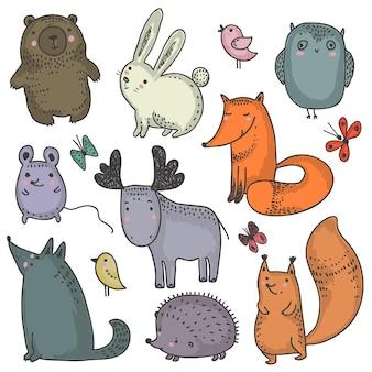 Векторная коллекция рисованной диких лесных животных