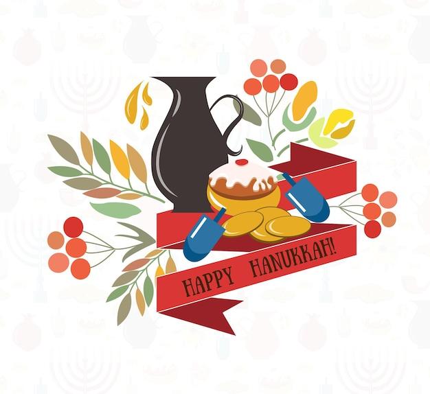 Векторная коллекция этикеток и элементов для хануки счастливый ханукальный плакат с цветами свечи