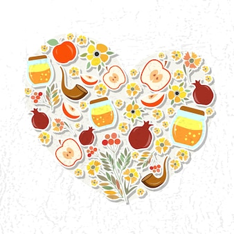 Rosh hashanah(유대인 새해)에 대한 레이블 및 요소의 벡터 컬렉션입니다. 심장의 형태로 아이콘 또는 배지. 꽃과 엽서 또는 초대 카드 서식 파일