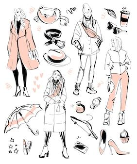 モダンなファッション要素と秋、春の美しいモデルのベクトルコレクション-衣類、個人的なスタイル、流行の外観、化粧品、アクセサリー、靴などが分離されています。手描きのスケッチスタイル。
