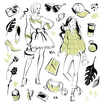 モダンなファッション要素と夏の美しいモデルのベクトルコレクション-衣類、個人的なスタイル、流行の外観、化粧品、アクセサリー、靴などが分離されています。手描きのスケッチスタイル。