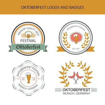 옥토버페스트 손으로 그린 로고 템플릿의 벡터 컬렉션입니다. 독일 축제 로고타입. 빈티지 배지 및 아이콘입니다. 손으로 스케치한 현대적인 아이콘입니다. 옥토버 페스트 레이블입니다.