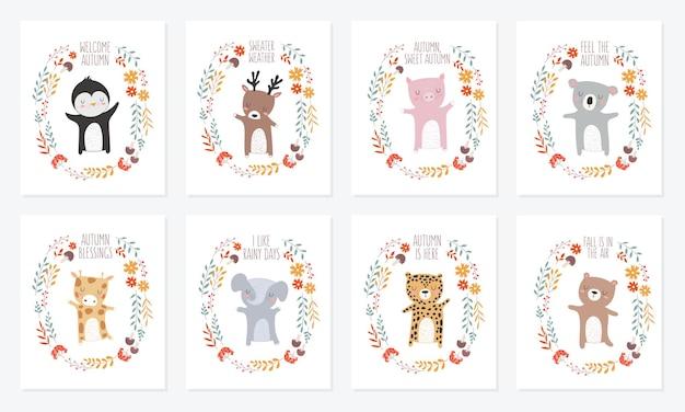 가을 슬로건이 있는 식물 화환으로 둘러싸인 동물이 있는 엽서의 벡터 컬렉션