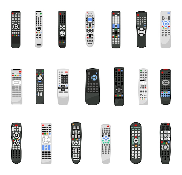 Tv 및 기타 미디어 장치용 리모컨의 벡터 컬렉션