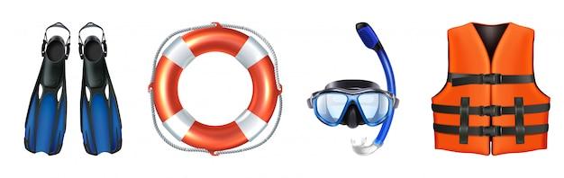 수영, 스노클링을위한 바다 장비의 벡터 컬렉션입니다. 구명 조끼, 마스크. 외딴.