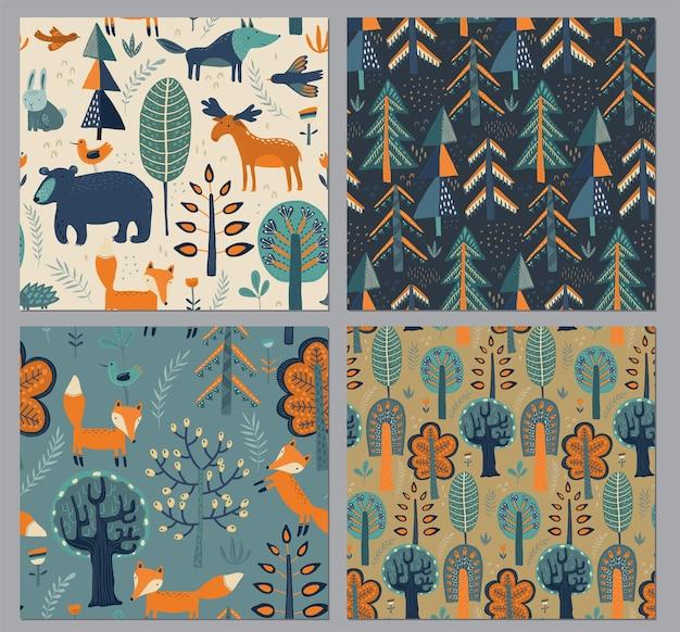 손으로 그린 숲 동물 나무 식물 꽃과 원활한 패턴의 벡터 컬렉션