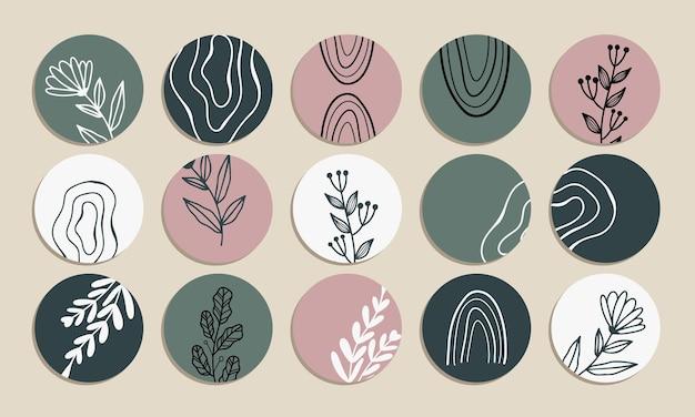 소셜 미디어 하이라이트의 벡터 컬렉션은 미니멀리스트 파스텔 그린과 핑크를 다루고 있습니다.