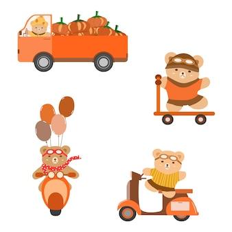 Векторная коллекция плюшевого мишки за рулем грузовика с тыквой на мотоцикле с самокатом на воздушном шаре
