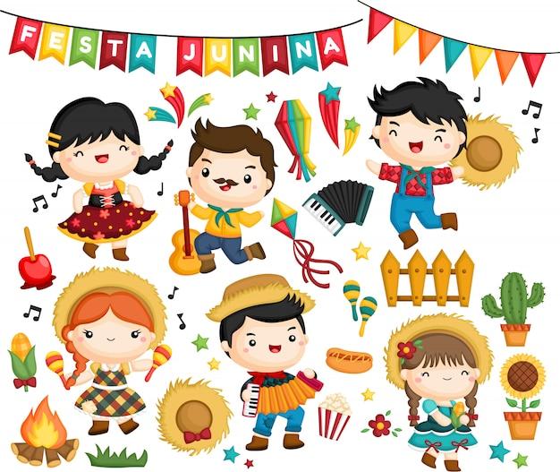 フェスタジュニーナ祭のお祝いのベクトルコレクション