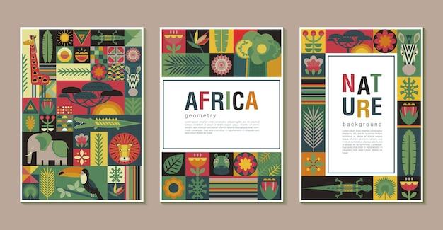 Векторная коллекция модных творческих открыток с лоскутным мозаичным дизайном