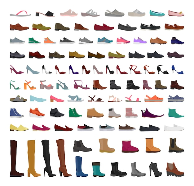 여자와 남자 신발의 벡터 컬렉션입니다.