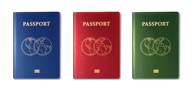 Vector collection of passports green red and blue