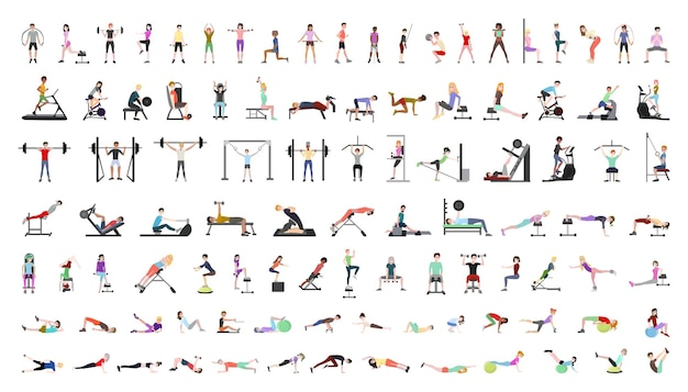 Vector collection of people in the gym
