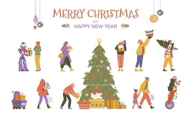 Vector collection of people and robots with christmas gifts. christmas tree with present boxes.