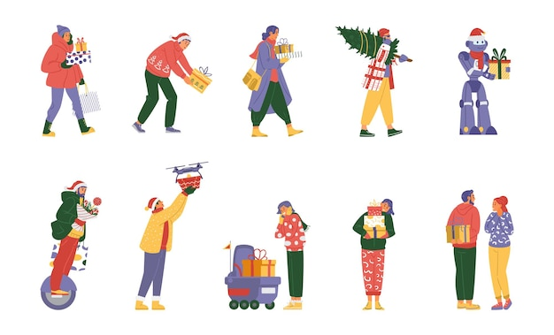 Vector collection of people and robots with christmas gifts walking receiving giving
