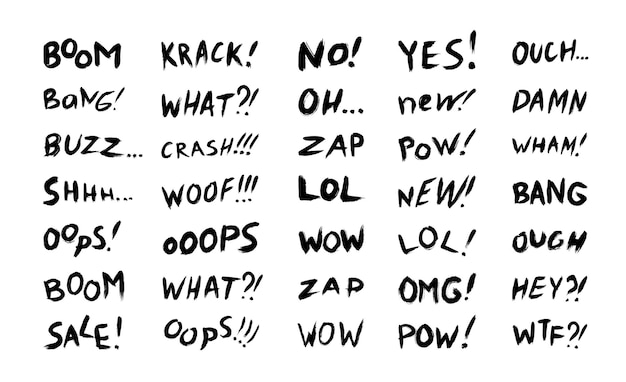 Vector collection of phrases and comic words for sales chats and expressive messages