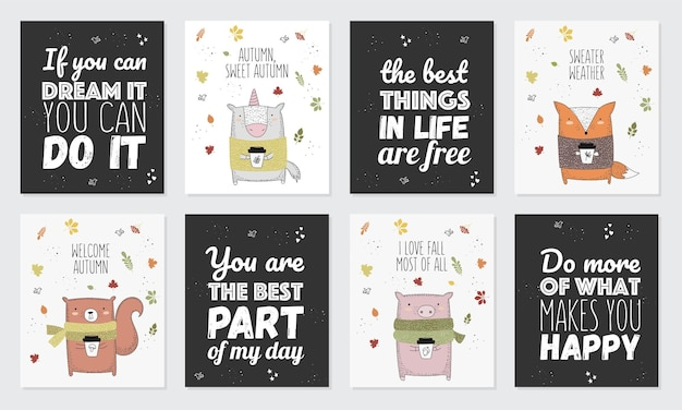Vector collection of postcards with line drawing animal in sweater and slogan about autumn