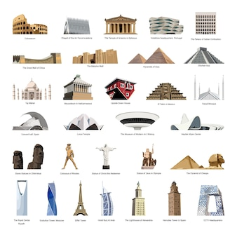 Vector collection of realistic wonders of the world and landmarks of different countries.