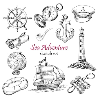 Vector collection of sea adventure