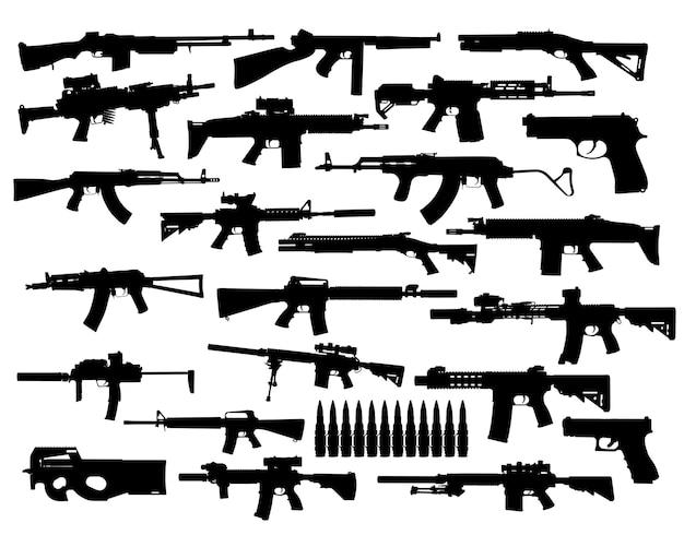 Vector collection set of silhouettes of modern guns. assault and sniper rifles, pistols, shotguns