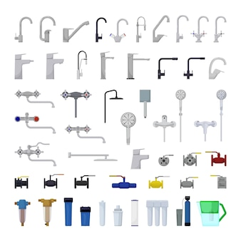 Vector collection of taps and water filters
