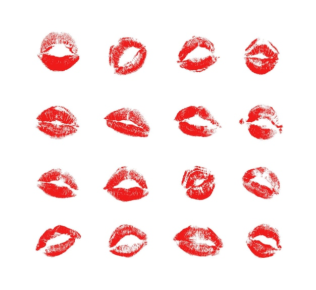 Vector collection of textured kisses