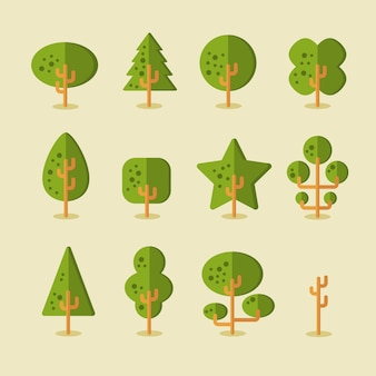 Vector collection of trees for game backgrounds in flat style