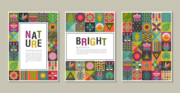 Vector collection of trendy creative cards with patchwork mosaic design