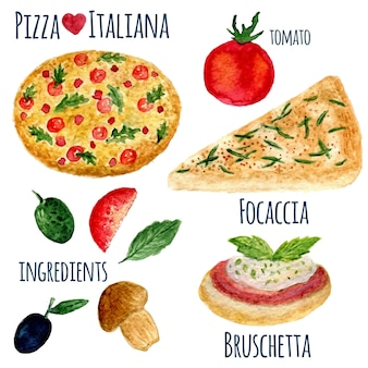 Vector collection of watercolor pizza illustration isolated. italiana menu set