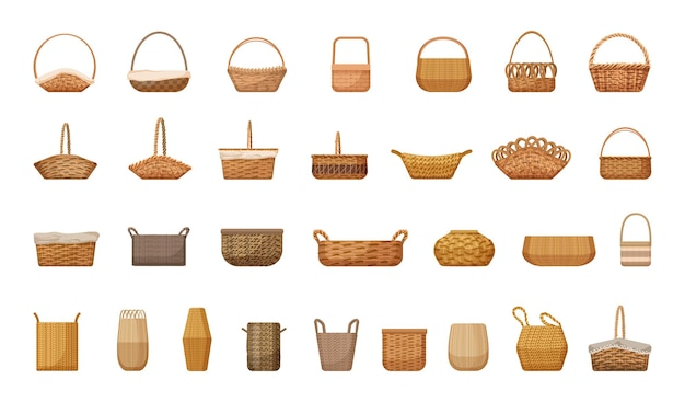 Vector collection of wicker baskets.