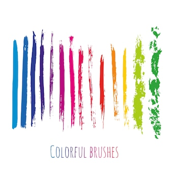 Vector collection with colorful brush strokes elements. rainbow paint spots set isolated.