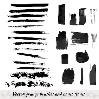 Vector collection with grunge brush strokes and paint stains. black ink elements isolated