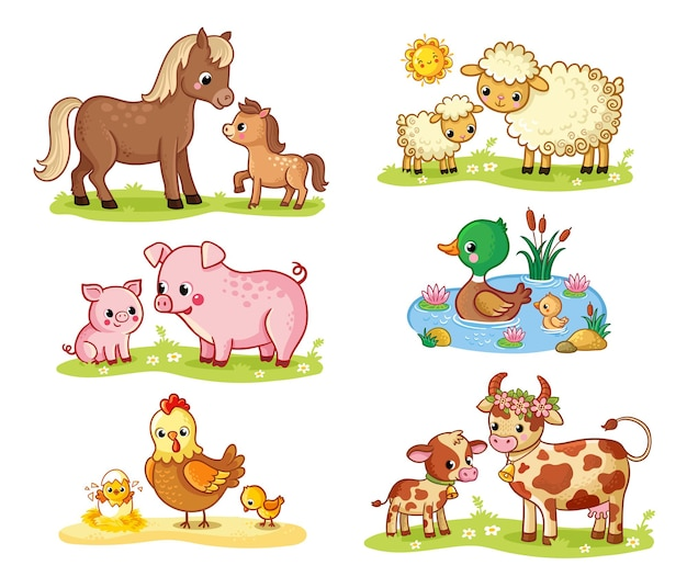 Vector collection with pets and their children