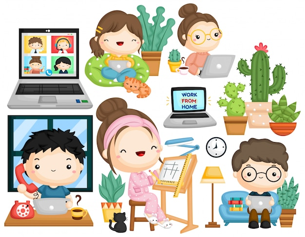 A vector collection of working from home