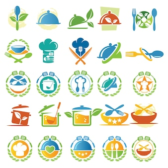 Vector collections of food and cook logo design