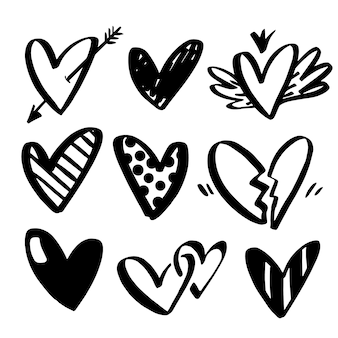 Vector collections of hand drawn hearts isolated on transparent background.