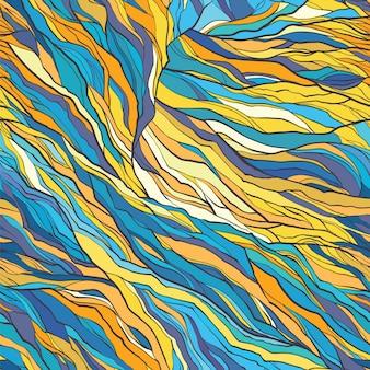 ベクターカラー抽象的な手描きのシームレスなパターン。自然なモチーフ。繊維、紙、背景のタイルの背景。