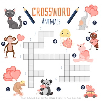 Vector color crossword, education game for children about animals