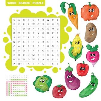 벡터 색상 크로스워드, 야채에 대한 어린이 교육 게임. 단어 찾기 퍼즐