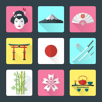 Vector color flat style japanese national theme icons with shadow set