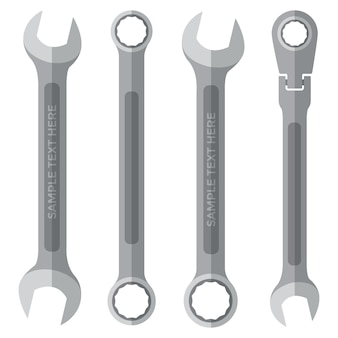 Vector color flat style various wrenches set