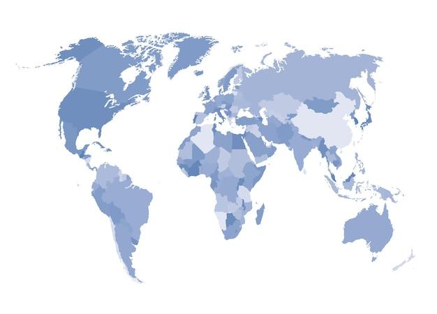세계 지도의 벡터 컬러 일러스트입니다.